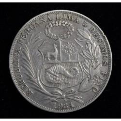 Peru 1 Sol 1934 KM218.2 Plata