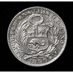 "Peru 1/2 Dinero 1896 F KM206.2 ""F"" Incompleta"