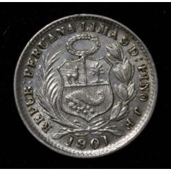 Peru 1/2 Dinero 1901/891 JF KM206.2