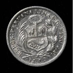 Peru 1/2 Dinero 1905/895 JF KM206.2