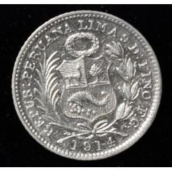 Peru 1/2 Dinero 1914 FG KM206.2