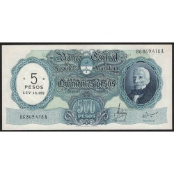 B2208 500 Pesos Moneda Nacional A 1970 Resellado a 5 Pesos Ley 18.188 UNC
