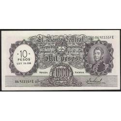 B2212 1000 Pesos Moneda Nacional E 1969 Resellado a 10 Pesos Ley 18.188 UNC