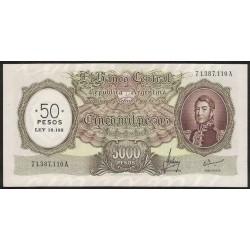 B2217 5000 Pesos Moneda Nacional A 1969 Resellado a 50 Pesos Ley 18.188 UNC-