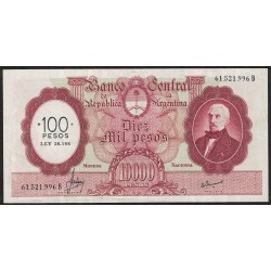 B2222 10000 Pesos Moneda Nacional B 1970 Resellado a 100 Pesos Ley 18.188