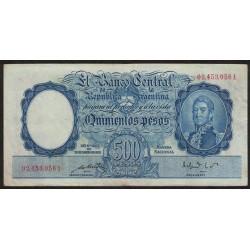 B2092 500 Pesos Ley 12155 A 1949 Numeracion en Rojo