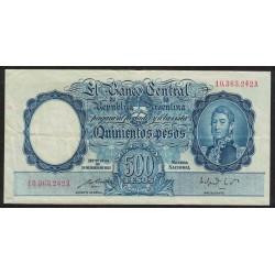 B2095 500 Pesos Ley 12155 A 1952 Numeracion en Rojo