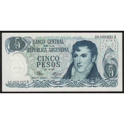B2321 5 Pesos 1971 Numeracion Baja UNC