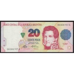 B3051 20 Pesos A 1992 Numeracion Baja UNC