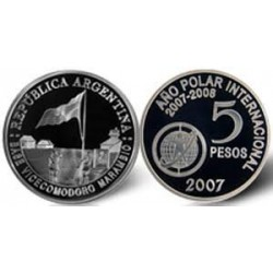 Republica Argentina 5 Pesos 2007 Año Polar Internacional Plata Proof