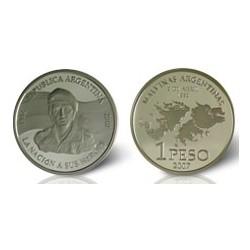 Republica Argentina 1 Peso 2007 25 Aniversario Gesta de Malvinas Plata Proof