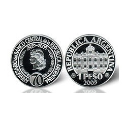 Republica Argentina 1 Peso 2005 70 Aniversario B.C.R.A. Plata Proof