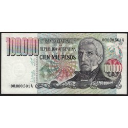 B2502 100.000 Pesos A 1979 Numeracion Baja UNC
