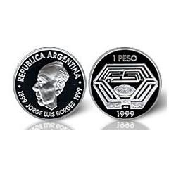 Republica Argentina 1 Peso 1999 Borges Plata Proof UNC