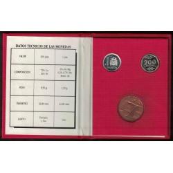 España Cartera Oficial E-87 1 y 200 pesetas Proof + Medalla FNMT UNC