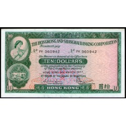 Hong Kong P182h 10 Dolares 1977 UNC