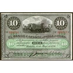 Cuba P49 10 Pesos 1896 EXC-