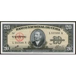 """Cuba P80c 20 pesos 1960 """"Firma del Che"""" UNC"""