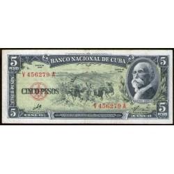 """Cuba P91c 5 pesos 1960 """"Firma del Che"""" MB+"""