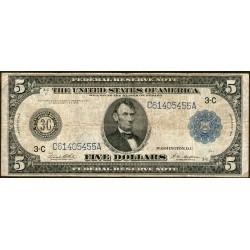 Estados Unidos P359b 5 Dolares 1914 Sello Azul MB