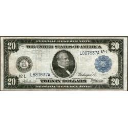 Estados Unidos P361b 20 Dolares 1914 Sello Azul MB+