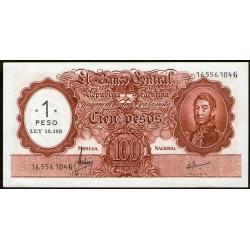 B2202 100 Pesos Moneda Nacional G 1969 Resellado a 1 Peso Ley 18.188 UNC