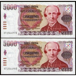 B2639a 5000 Pesos Argentinos B 1985 Correlativos UNC