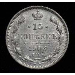 Rusia 15 Kopeks 1906 Y21a.2 Ag500 EXC-