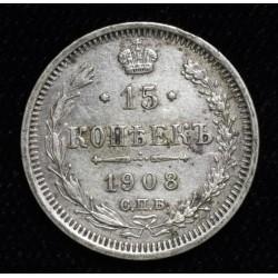 Rusia 15 Kopeks 1908 Y21a.2 Ag500 MB+