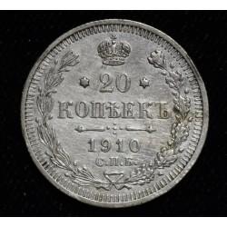 Rusia 20 Kopeks 1910 Y22a.1 Ag500 EXC