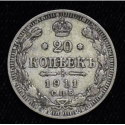 Rusia 20 Kopeks 1911 Y22a.1 Ag500 MB+