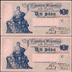 B1550 Numeros Correlativos 1 Peso Caja de Conversion C 1921 EXC