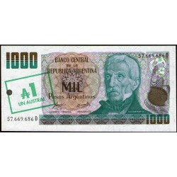 B2701 1.000 Pesos Argentinos D 1985 Resellado a 1 Austral UNC