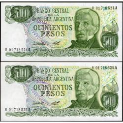 B2431a REPOSICIONES CORRELATIVOS 500 Pesos 1979/81 F1 UNC