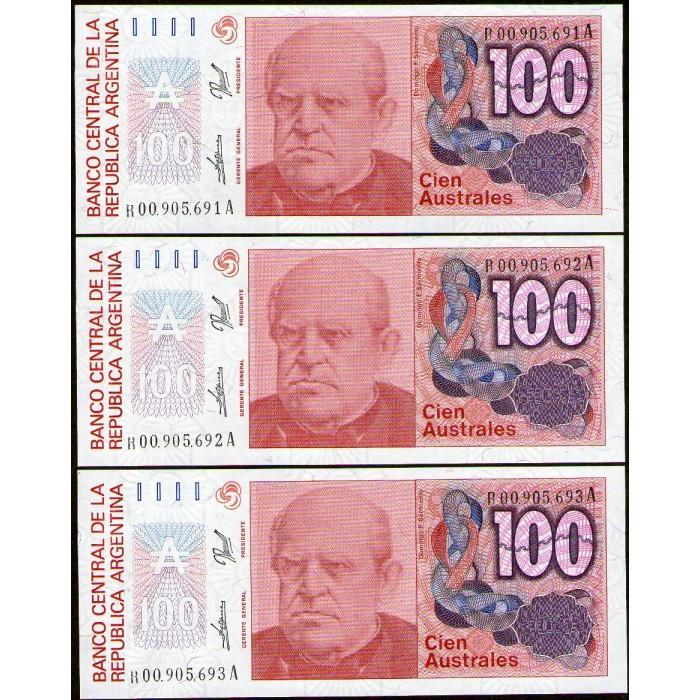 B2848 REPOSICIONES NUM CORRELATIVOS 100 Australes 1989/90 UNC