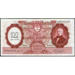B2220 10.000 Pesos MN B 1969 Resellado a 100 Pesos Ley 18.188 MB/EXC