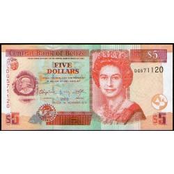 Belize P67e 5 Dolares 2007 UNC