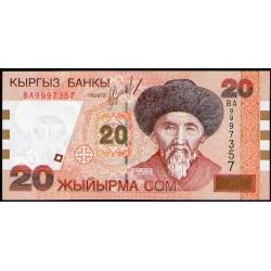 Kirguistan P19 20 Som 2002 UNC