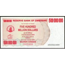 Zimbabwe P60 500.000.000 Dolares 2008 UNC