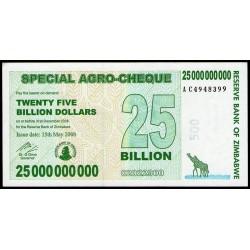 Zimbabwe P62 25 Billones de Dolares 2008 UNC