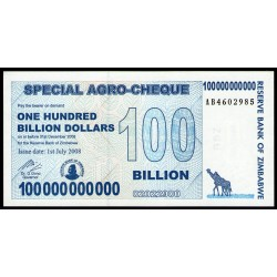 Zimbabwe P64 100 Billones de Dolares 2008 UNC