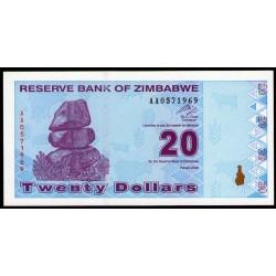 Zimbabwe P95 20 Dolares 2009 UNC