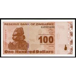 Zimbabwe P97 100 Dolares 2009 UNC