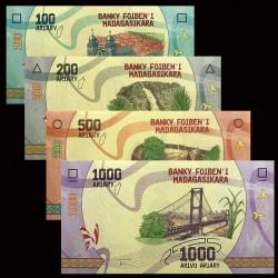 Madagascar Set 4 Valores 100/1000 Ariary 2017 UNC