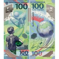 Rusia Billete 100 Rublos Conmemorativo Mundial de Futbol 2018 Polimero UNC