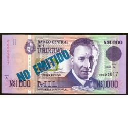 Uruguay P67A No emitido 1000 Nuevos Pesos 1989 UNC