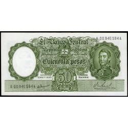 B2026a REPOSICION 50 Pesos Leyes 12.962 y 13.571 1967/1968 Filigrana C UNC