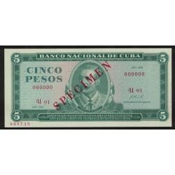 P103s 5 Pesos Specimen 1972 Cuba UNC