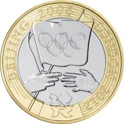 Reino Unido 2 Libras 2008 Traspaso Bandera Olimpica Beijin-Londres Plata Proof