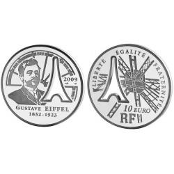 Francia 10 Euros 2009 Gustave Eiffel Plata Proof UNC